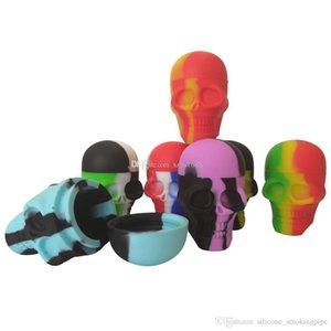 Contenitori del cranio di 3pcs / lot 15ml contenitore di silicone di colore assortiti per Dabs contenitori di silicone di forma rotonda Dab contenitori di cera in silicone Dab contenitori