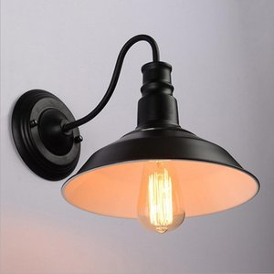 American Iron Cover Wall Lamp E27 Lamp Holder 110-240V Coffee House Dining Hall Foyer Shop Vintage Indoor Lighting