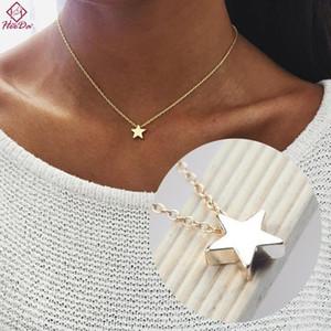 Heeda coréenne Simple unique étoile Collier femmes Graceful alliage Clavicule chaîne Fashion Lady Kolye 2017 Un ornement sur le cou
