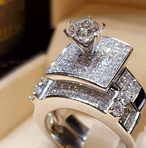 Nuove oro bianco ha placcato anelli di cristallo brillanti set per donne amanti aggancio di cerimonia nuziale Micro Zircon SJ