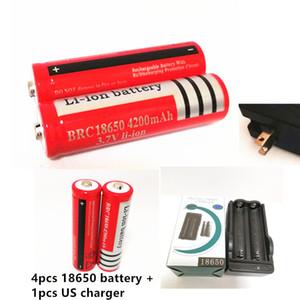 4pcs 18650 4200mAh 3.7V batterie Li-ion + 1PCS US / EU 18650 Double Chargeur de batterie