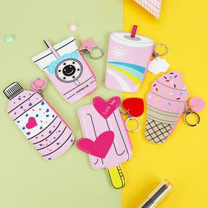 Eiscreme Frucht Tier DIY Design Kinder Nizza nette PU-Mappenmünzengeldbeutel mit Finger-Ring