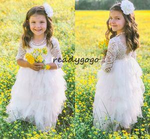 Blumenmädchen Gürtel Erstkommunion Kleider mit Langarm Vintage Spitze Tüll Kleine Prinzessin Geburtstag Mädchen Hochzeit Party Kleid