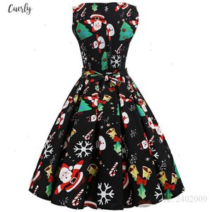 Christmas S~3Xl Dress Women Floral Print Slim Vintage Dress Casual Sleeveless Elegant Midi Party Dresses Vestidos Robe Designer Clothes