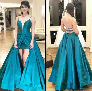 Blue Peacock vestidos de baile 2020 Criss raja del frente de raso tirantes de espagueti atractivo de espalda cruzada por encargo de la fiesta de los vestidos de noche del desgaste ocasión formal