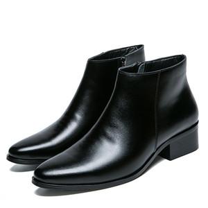 Vente chaude-Cheville Bout Pointu Zip Hommes Bottes Basse Couture Vintage Bottes De Moto Solide Casual Style Britannique Chaussures Automne Hiver