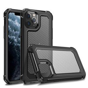 Caso à prova de choque de fibra de carbono para o iPhone 12 11 Pro Max XS XR X 6 7 8 Plus SE 2020 Samsung S20 Plus Ultra
