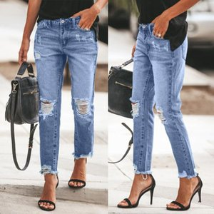 Women Fashion Jeans Casual Ripped Jeans Slim Fit Female Hole Broken