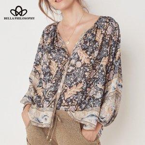 Bella Philosophy Bohemian Lange Aufflackernhülse Bluse Einreiher Weibliche Süße Bluse Lässige Print Floral Lady Top 2019