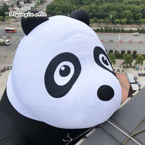 Netter Inflatable Maskottchen Panda Modell 6m Höhe Blow Up Tier Climbing Giant Panda Für Shopping Mall und Außenwanddekoration