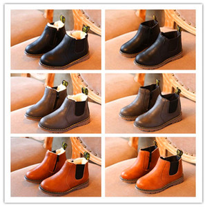 New Hot Autumn Girls Boys Shoes Warm Kids Snow Boots PU Leather Waterproof Leather Boots Children Rubber Fashion Sneakers