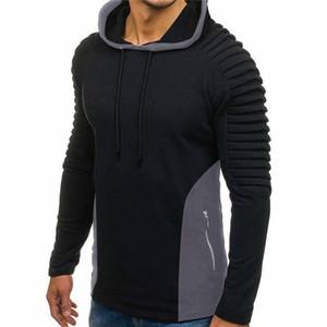 Tops Mens drapeado Designer Painéis Hoodies Magro pulôver Zipper camisola manga comprida Mens Moda