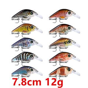 Hooks 6 # Kanca Pesca Balıkçılık Balıkçılık 10 renkli 7.8cm 12g Krank Plastik Sabit yemler Yemler Mücadele Aksesuarlar WL-2