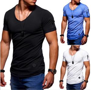 T-shirt da uomo Camicette da uomo in cotone corte con bottoni sottili T-shirt da uomo
