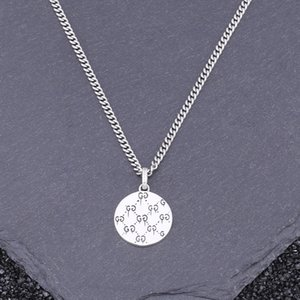100% S925 sterling silver pendant couple personality simple wild retro round plaque styling gift for lovers 2021 new