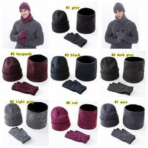 Warm Strickmützen Schal Handschuhe Set Männer Frauen Touch Screen Glove Schal Set Hut Thick Skullies Beanies LJJM2366