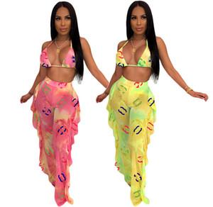 Женщины сексуальный комплект из двух частей галстук краситель спортивный костюм без рукавов бикини рябить брюки мода летняя одежда письмо Печати Сетки костюм плюс размер 797