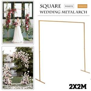 2M X 2M Wedding Stage фона рамки кованого железа декоративный цветок стенд Пользовательские свадьбы Square Arch Полка Decor