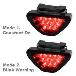 Universal Rojo Coche Vehículo 12 LED Cola trasera Freno DRL Luz de parada Luz estroboscópica Destello Lámpara de niebla Estilo F1