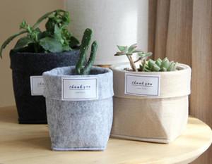 Sacs en feutre Succulent Plant non-tissé Tissu Cactus Flower Pot ou grandir Planters Accueil Panier de rangement Sacs pliant fleur SN984