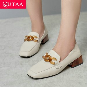 QUTAA 2020 Retro Square Toe Slip on Women Single Shoes Fashion Chains Square Heel Soft Cow Leather Women Pumps Big Size 34-42 Y200702