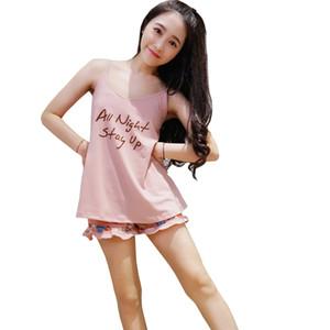 WAVMIT 2018 vestiti dei nuovi pigiami delle donne sexy casa del vestito degli indumenti Shortless manica pigiama comodo Ragazze breve Pigiama Pant