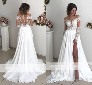Exquisite Lace Chiffon A linha de vestidos de casamento 2019 Sheer Neck mangas compridas Side Dividir Trem da varredura da Capa traseira Botões Vestidos de noiva País