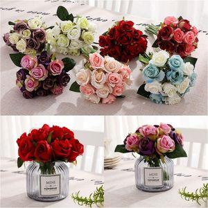 Artificial flor de las rosas 12pcs / lot de la boda del ramo de flores de seda decorativas Simulación de flores decorativas 10 colores OOA7266-1