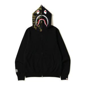 Günstige New Hoodie der Männer A Bathing Ape AAPE Shark Kapuzen-Mantel-Camo Full Zip Jacke Camouflage Pullover Hot Cardigan o1