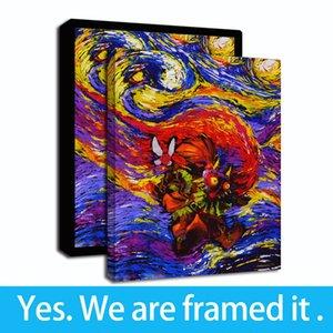 Épée d'huile Vincent van Gogh Nuit étoilée de Zelda de Canvas Mask Zelda Légende Décor Nursery Wall Majora Print Art Framed sur la peinture SBRWA