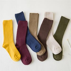 CHAOZHU 2019 New solto Socks Mulheres 200 Needles Cotton Knitting Rib Cores sólidas 14 tipos de 4 estações básicas diárias Mulheres Socks