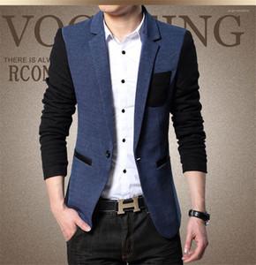 Designer un seul bouton Casual Tissu Contraste Color Plus Hommes Veste Mode lambrissé Homme Leisure Suit Blazer