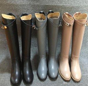 Europa e América Lady Buckles Martin botas de couro genuíno Kelly Mulheres Hetero Botas Cavaleiro Chaussure Mujer Plus Size 41 42