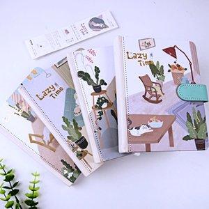 """""""Lazy Time"""" Hard Cover Jornal Diário bonito Notebook Estudo Cat Forrado Grade Notepad bonito presente de papelaria"""