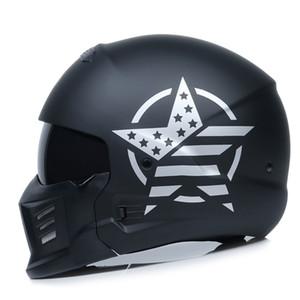 O mais recente modular retro capacete da motocicleta capacete personalidade combinação rosto cheio capacete locomotiva metade