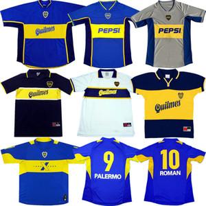 2005 Retro Boca Juniors футбол Джерси 98 99 1997 01 02 03 05 Старых Марадон РОМАН PALERMO Футбол рубашка Рикельме Тевес древнего трико