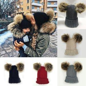 Çocuklar Örgü Kış Hairball Örme Ebeveyn-çocuk Şapka Anne Çocuk Açık Ayrılabilir Şapka Bebek Kız bebekler Brithday Hediyeler 06 Caps