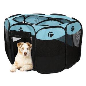 Portátil tenda dobrável Dog Pet House For Dogs interior Playpen Tent Crate Quarto impermeável ao ar livre Cerca Cats filhote de cachorro Kennel Octagon