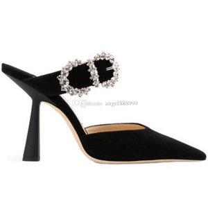 Fashion Ladies High Heels Sexy Rhinestone Crystal Pointed SANDALS Women's New Drill Black Suede Buckle High Heel Slippers Party Shoes 8cm