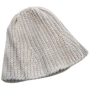 Chenille Fischer-Hut Wolle-Hut Herbst und Winter Pot Cap weiblich Chic faltbare Knit elastische Warm