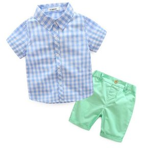 Gentleman Boy Kids clothing Baby Summer sets turn down collar Plaid style short sleeve Shirt + short sets Summer boy clothing sets