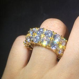 2 Reihen Iced Out Hip Hop Ringe Gold und Silber vergoldet CZ Bling Bling Tennis Ring für Frauen Herren Schmuck Ringe