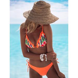 New Ruffle Bikinis Maillot de bain femme Lacet Maillots de bain Bikini Push Up Set Beach Maillot de bain brésilien Biquni Imprimer