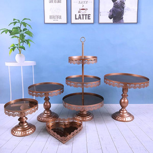5 unids / set venta al por mayor oro plata rosa blanco plateado acrílico espejo boda Metal Cake Stand espejo superior