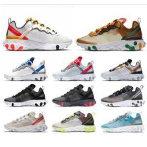 Nike Air React Element 87 55 SECRETO Mulheres Homens Running Shoes Posto Yellow Volt Racer Desert Sand Game Royal Blue reage sapatilhas esportivas meias gratuitos
