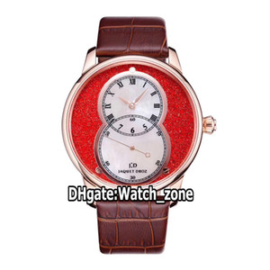 New Pierre Jaquet.Droz Grande Seconde circundado J014013340 A2824 Mens Automatic Assista Red / White Dial Rose Caso Ouro Couro Strap Watch_Zone
