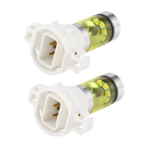 2pcs 100W H16 5202 3000K PS24W Haute Puissance LED Ampoules Or Jaune Lumière Lumière De Voiture Phares De Brouillard Phare Antibrouillard De Voiture Accessoires