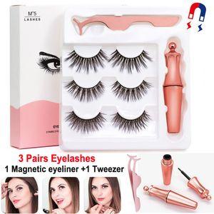 3 coppie Ciglia magnetici False Lashes + eyeliner liquido + pinzette di trucco degli occhi set magnete 3D Ciglia finte naturale riutilizzabile No colla necessaria