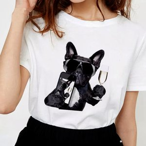 Harajuku Thin Section White Female T-shirt Tops Clothing 2019 New Summer Humanized Dog T Shirt Women Personality Fashion Tshirt