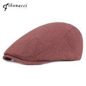 Alta calidad de Fibonacci Retro Gorros para hombres adultos Caps rayada taxista flatcap Otoño Invierno Newsboy